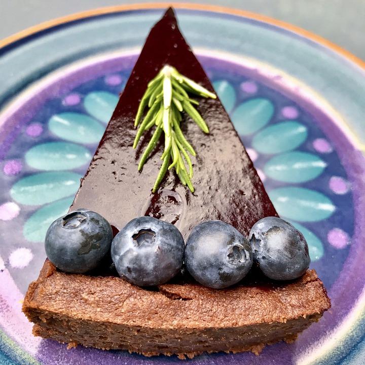 Chocolate Tart, Cake, Pastries, Dessert, Plate, Bake