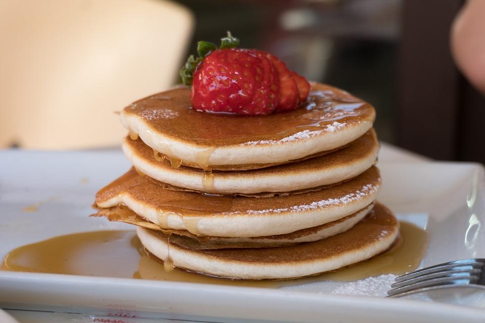 Pancakes, Food, Strawberry, Honey, Plate, Breakfast