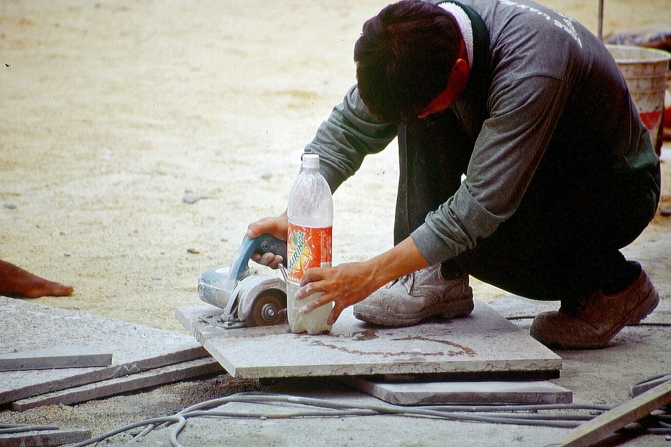 Workers, Angle Grinder, Saw, Tiles, Plate