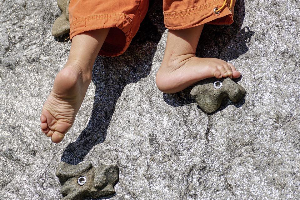 Barefoot, Climb, Play, Child, Playground, Fun