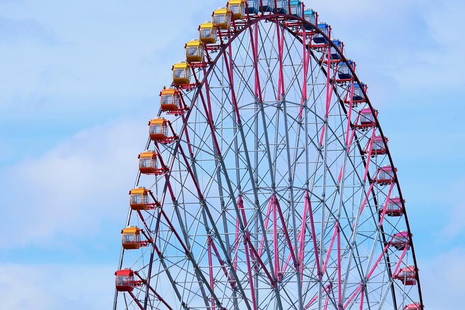 Ferris Wheel, Blue Sky, Great View, Play