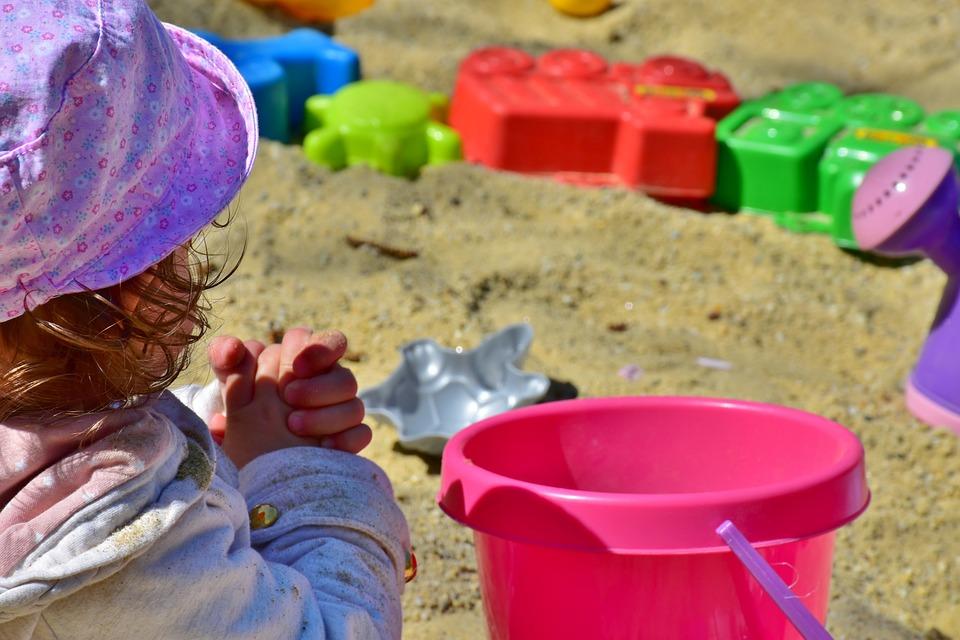 Child, Girl, Play, Bucket, Sand Pit, Blade, Plastic