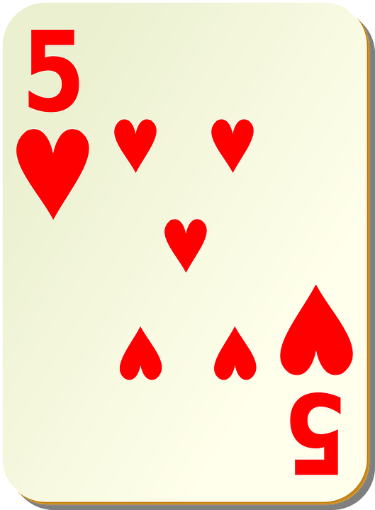 Card, Games, Hearts, Five, 5, Poker, Play, Leisure