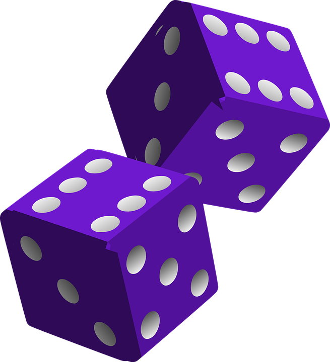 Dice, Die, Purple, Game, Play, Gaming, Gambling, Luck