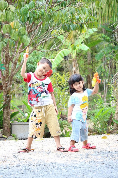 Thai Kids, Girl, Boy, Play, Game, Watergun, Children