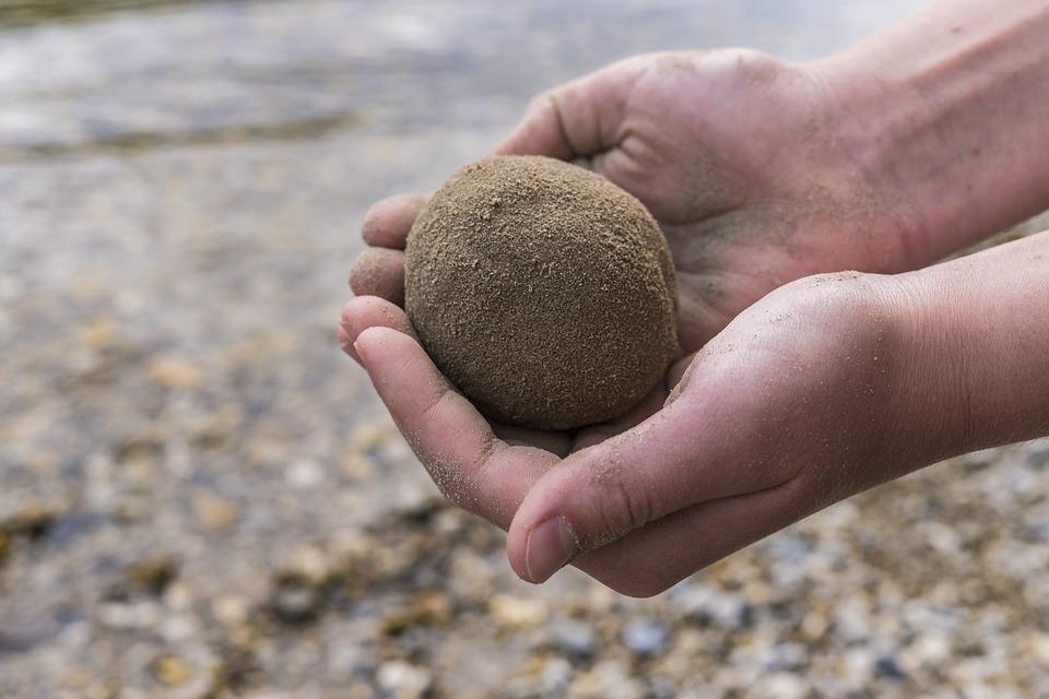 Sand Ball, Hands, Child, Bank, Lake, River, Play, Keep