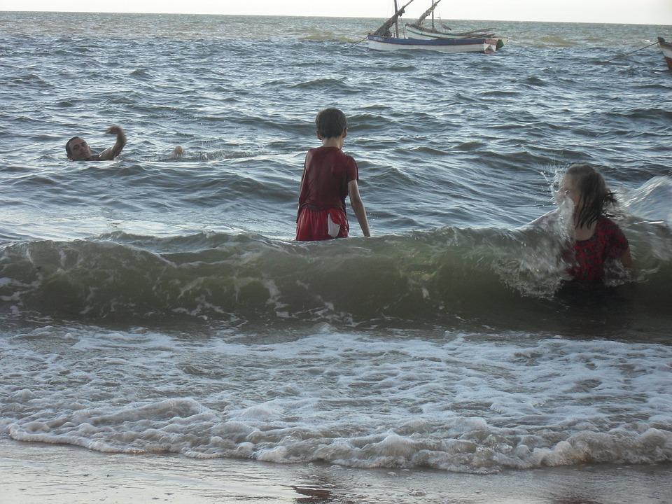 Ocean, Sea, Swim, Play, Children, Happy, Holiday