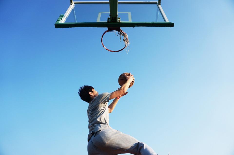 Basketball, Dunk, Blue, Game, Basket, Player, Jump