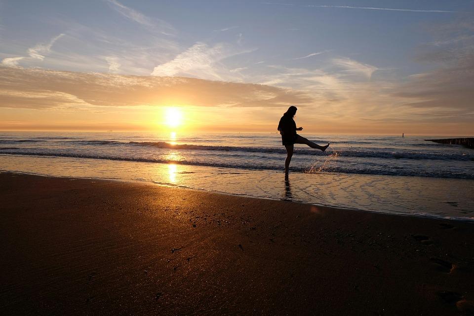 Playful, Beach, Sunset, Girl, Silhouette, Sun, Sea