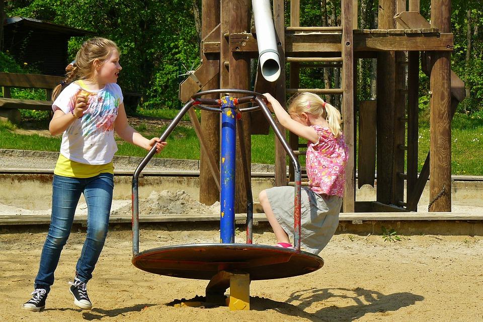 Children Playing, Playground, Children, Carousel, Child
