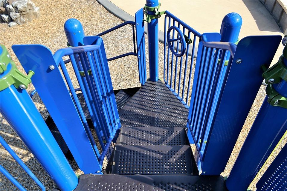 Playground Steps, Blue Stairs, Metal, Steel, Playground