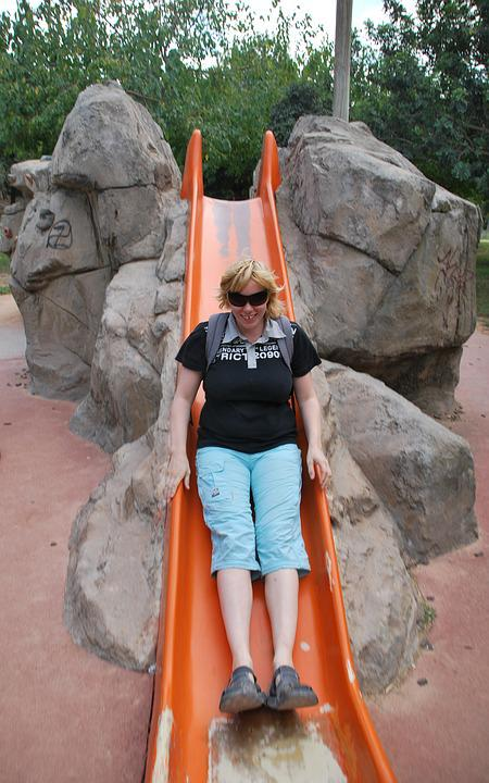 Adult, Slide, Playing, Playground, Woman, Happy, People