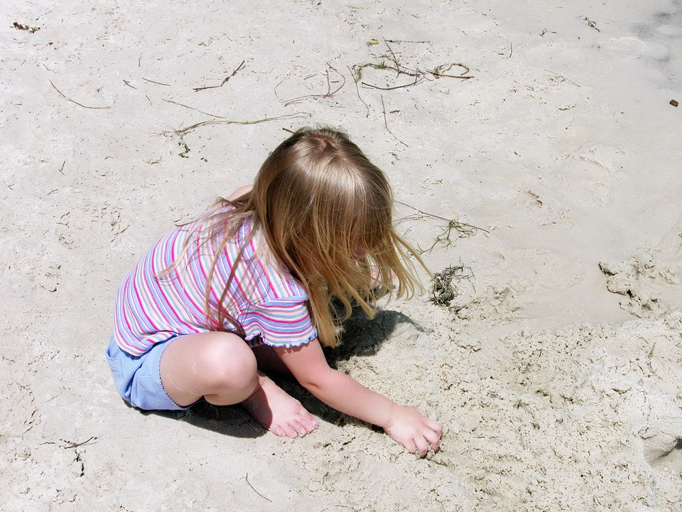 Child, Beach, Playing, Sand