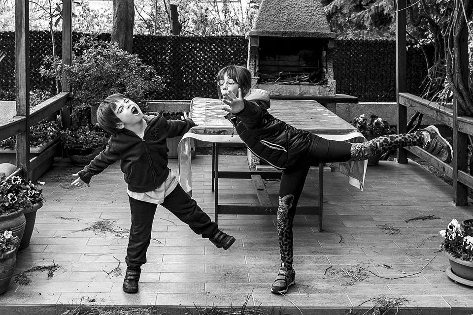Siblings, Childhood, Children, Game, Playing