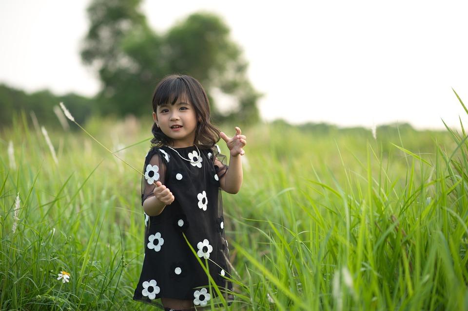 Girl, Child, Dress, Field, Grass, Flowers, Playing