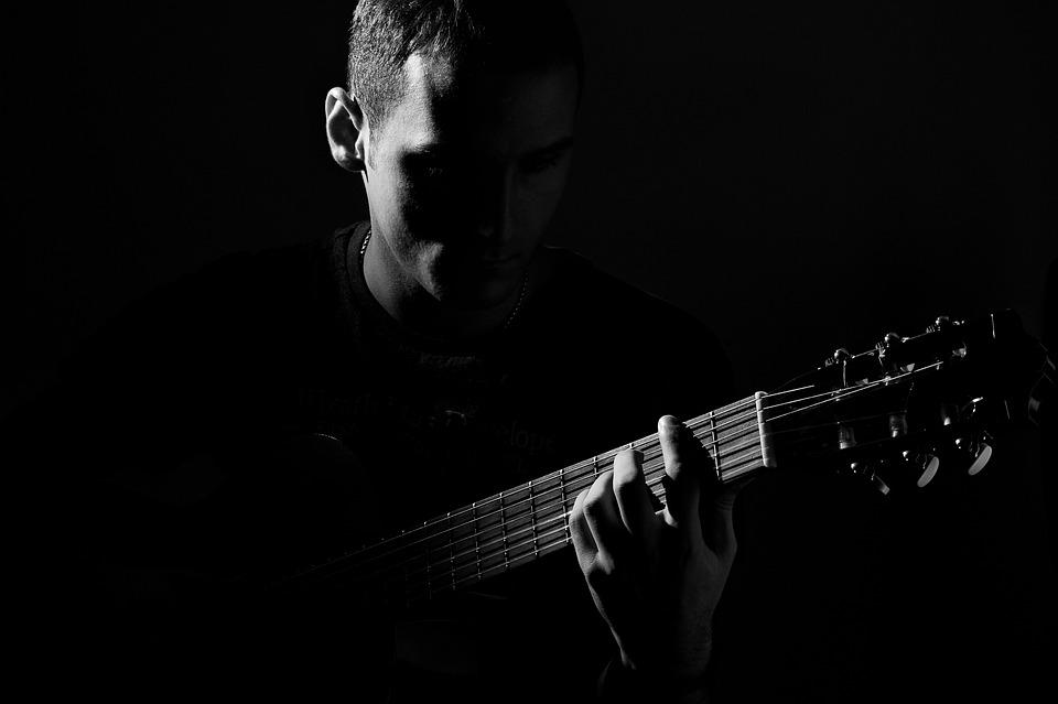 Guitar, People, Man, Black And White, Music, Playing