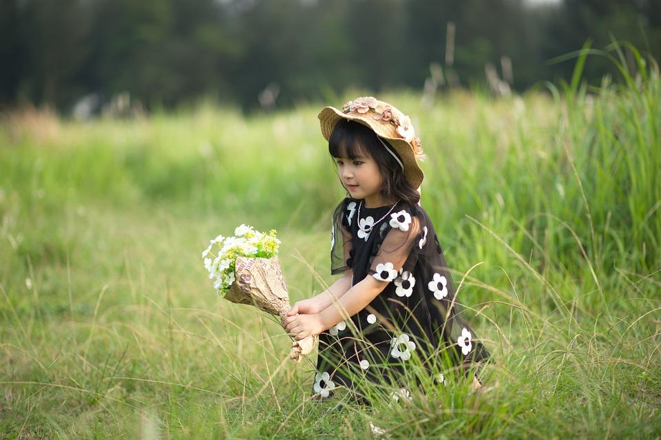 Girl, Child, Dress, Hat, Field, Grass, Flowers, Playing