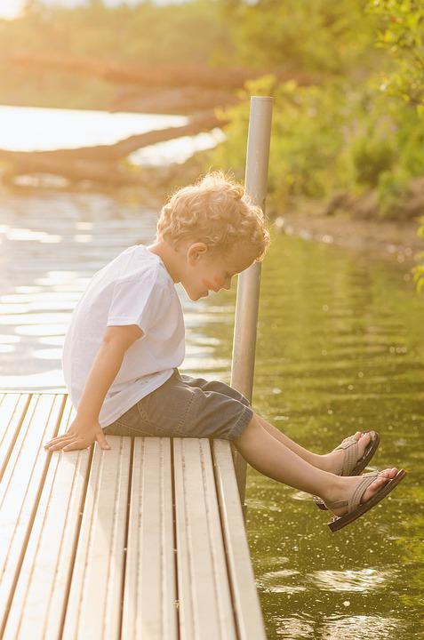 Dock, Boy, Water, Sitting, Playing, Sun, Lake, Peaceful