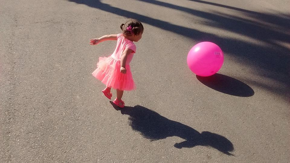 Child, Playing, Pink, Ball, Small