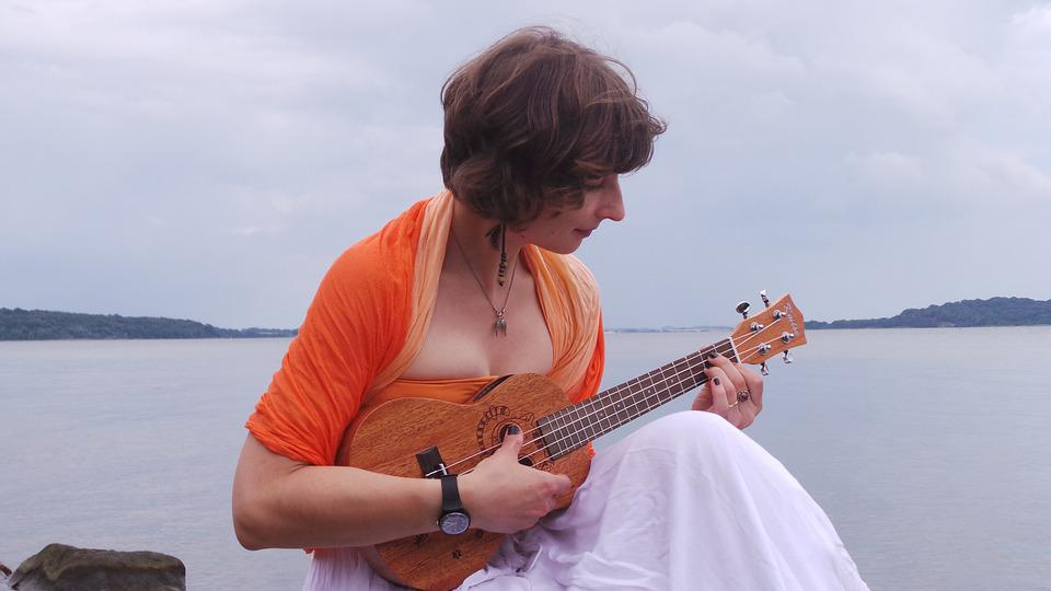 Young Woman, Playing The Ukulele, Music, Instrument
