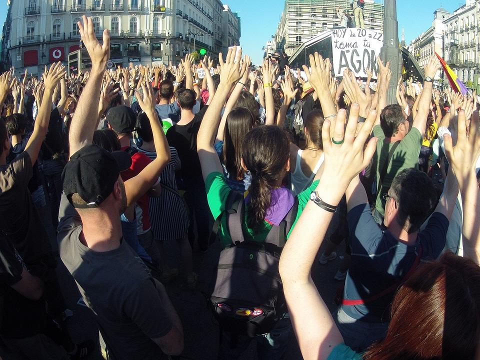 Demonstration, People, Plaza, Sun, Madrid, Flags