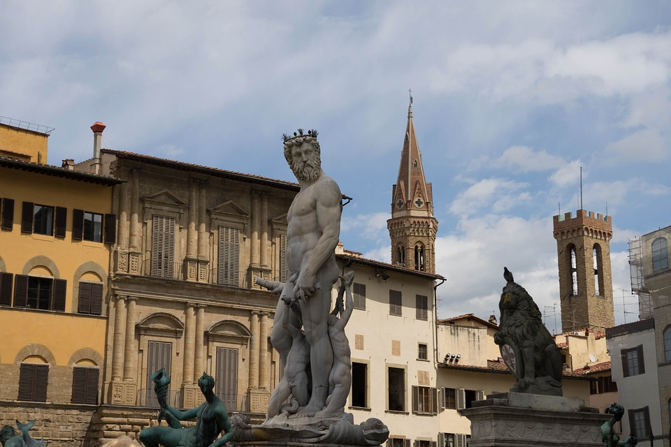 Neptune, Florence, Statue, Italy, Plaza, Square