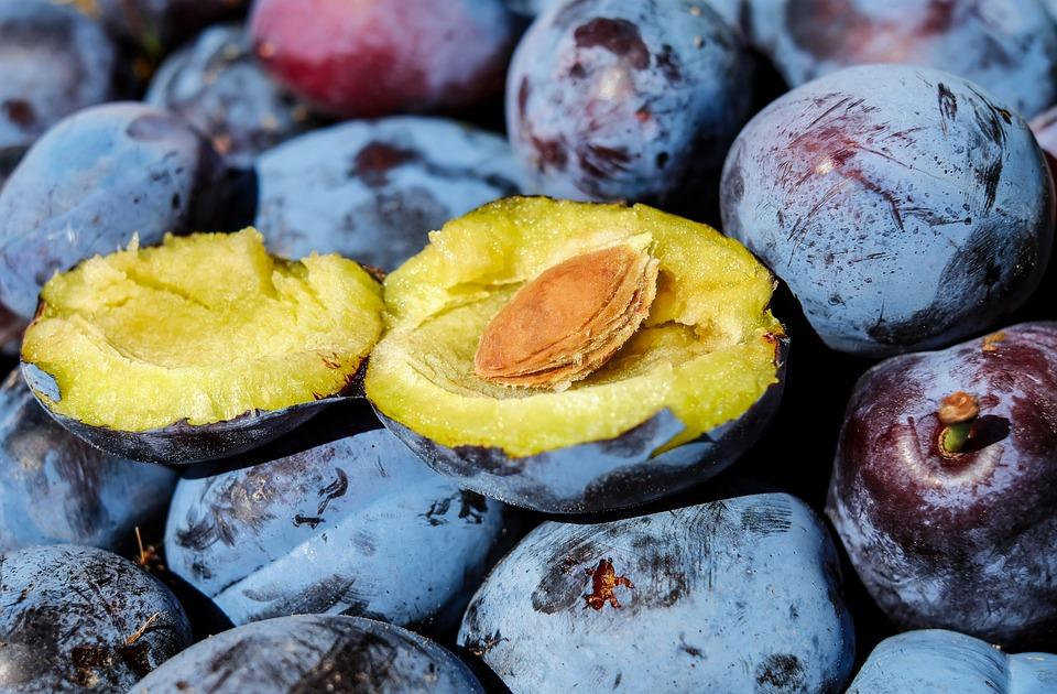 Plum, Fruit, Cut In Half, Stone, Plum Stone