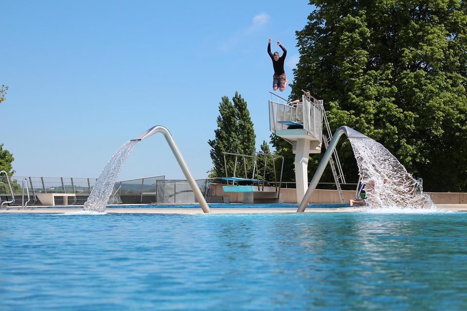 Outdoor Pool, Jump, Plunge, Swimming Pool, Fun, Summer