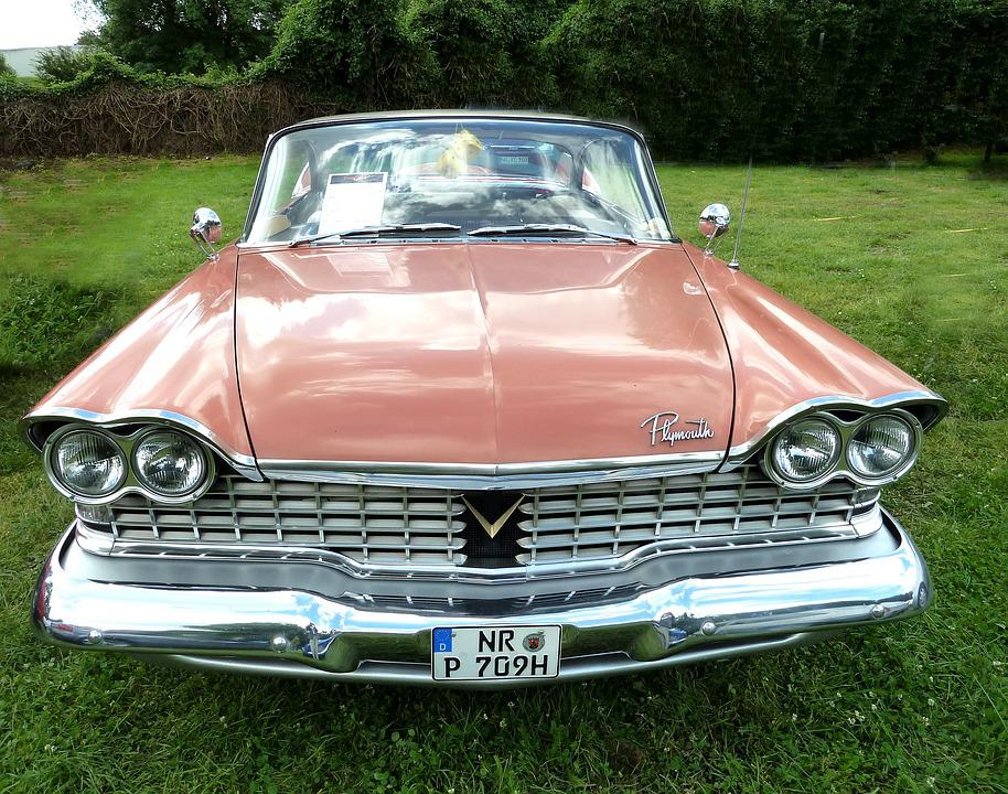 Plymouth, Old, Fifties, Auto, Oldtimer, Red, Oldsmobile