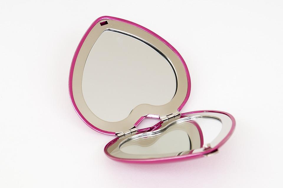 Mirror, Pocket Mirror, Heart, Pink, Makeup Mirror