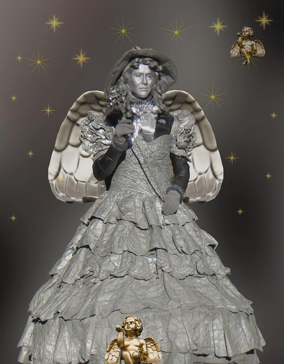 Angel, Christmas, Poinsettia, Star