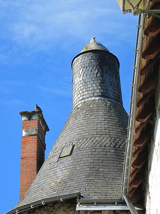 Château D'esvres, Slate Roof, Tower, Turret, Poivrière