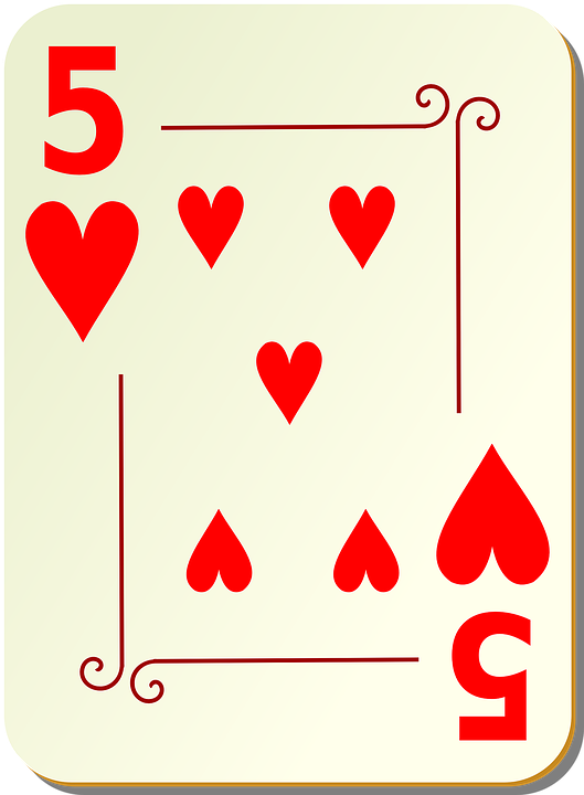 Hearts, Five, 5, Playing Cards, Card, Games, Poker