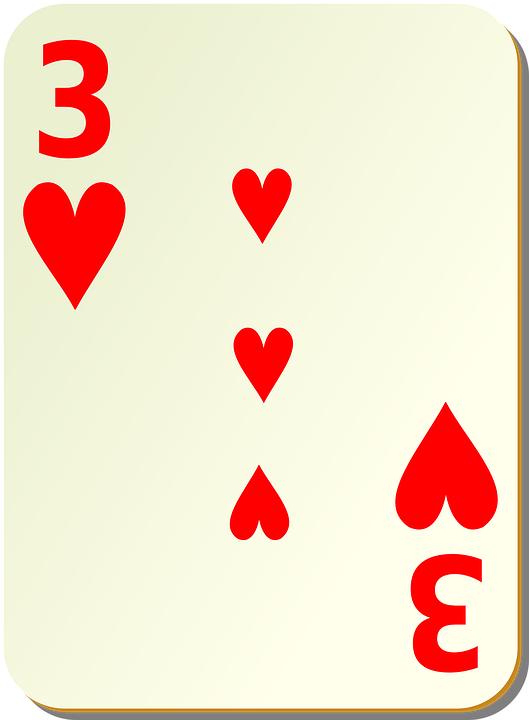 Hearts, Three, 3, Playing Cards, Card, Games, Poker