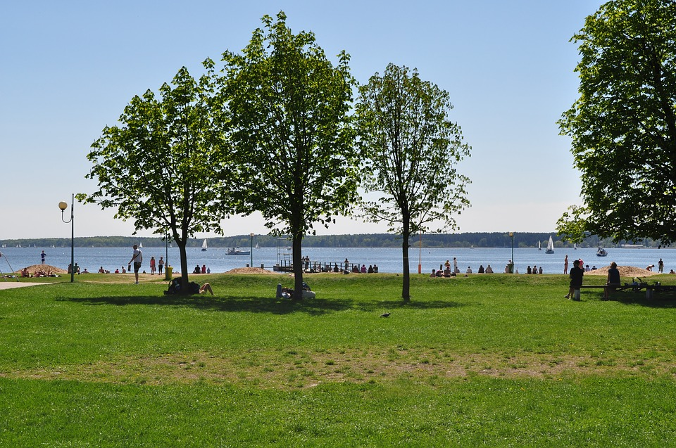 Beach, Poland, Giżycko, Lake