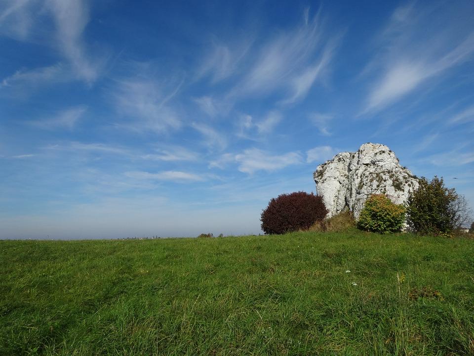 Rock, Nature, Landscape, Poland, Jerzmanowice, Autumn