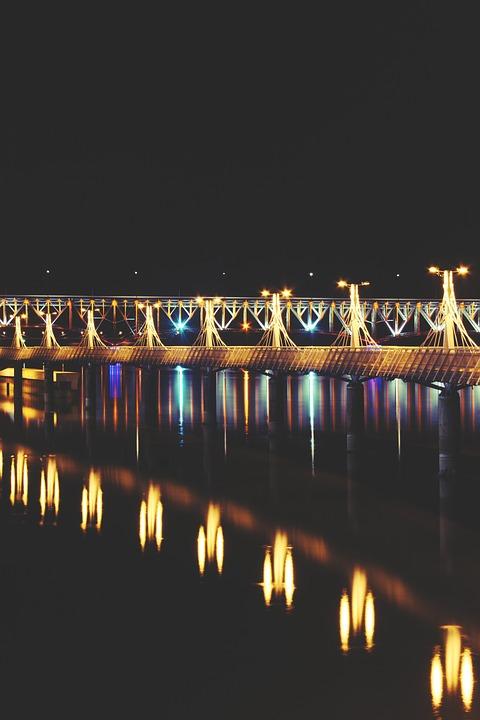 Pier, Lights, Night, Plock, River, Poland, Polska