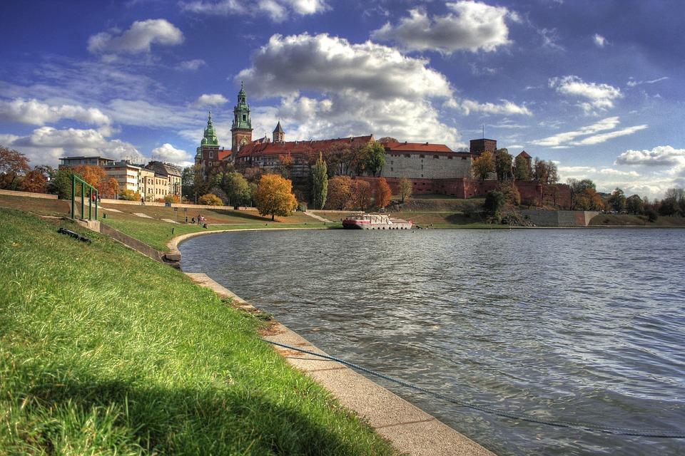 Krakow, Poland, Scenic, Sky, Clouds, Grass, Shoreline