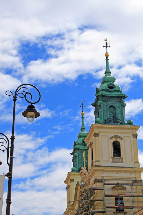 Warsaw, Lantern, City, Poland, Lights, Church