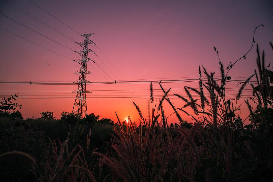 Sunset, Meadow, Background, High Voltage, Pole