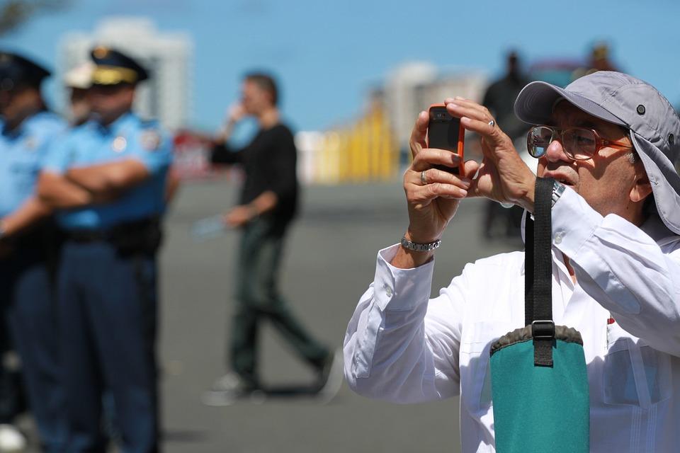 Police, Demonstration, Selfie, Photo, Camera