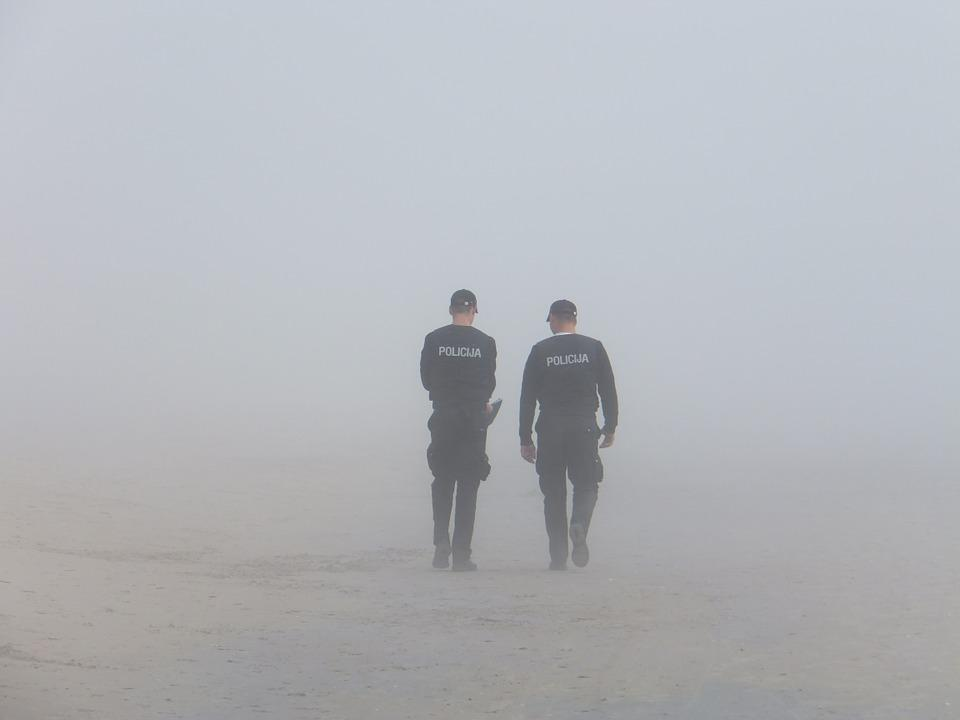 Police, Fog, Seaside