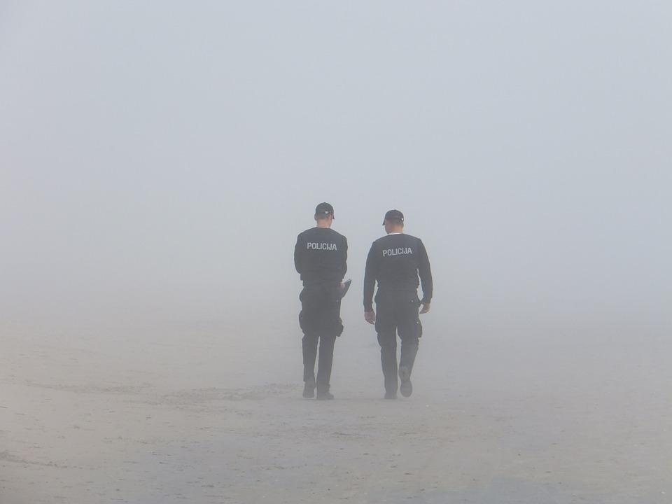 Police, Fog, Seaside
