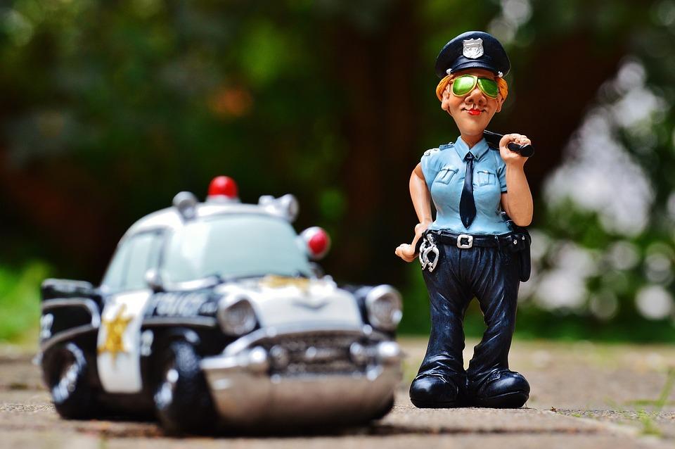 Policewoman, Police, Police Car, Fig, Funny, Fun