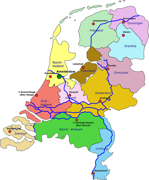 Netherlands, Map, Geography, Holland, Political