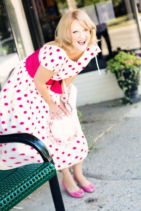 Vintage Woman, Polka Dot Dress, Laughing, Attractive
