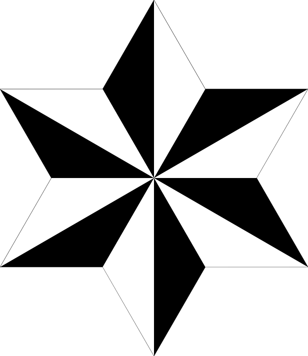 Hexagram, Polygon, Star, Black And White