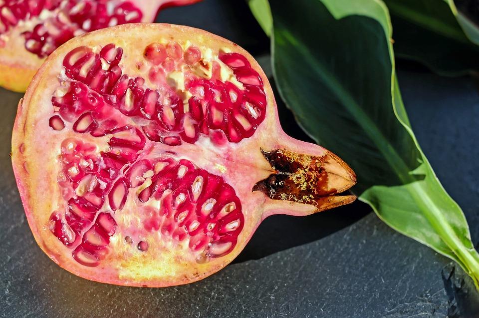 Pomegranate, Fruit, Red, Vitamins, Pomegranate Open