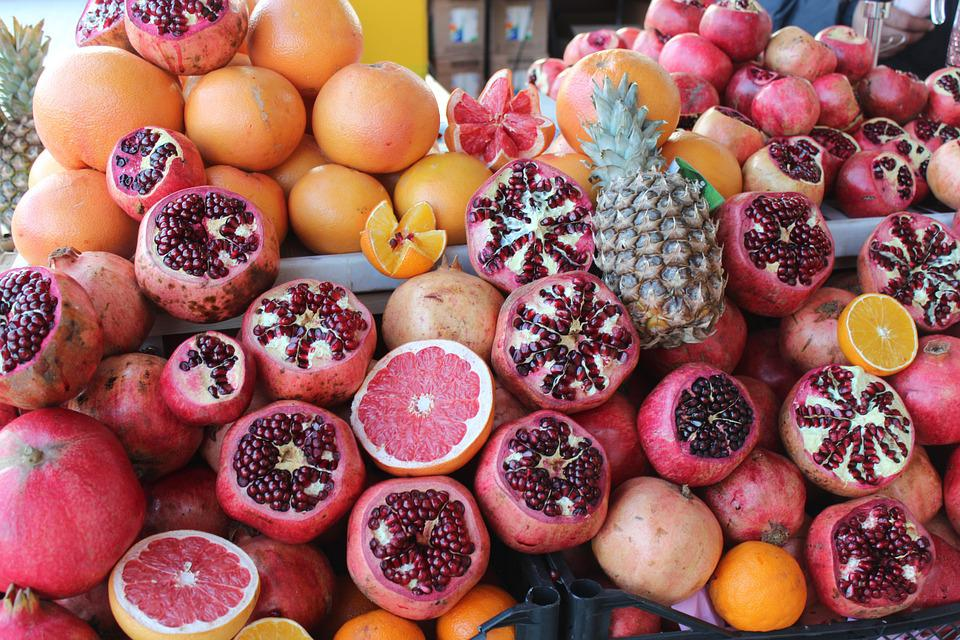 Fruit, Pomelos, Grenade, Pomegranate, Vegetables