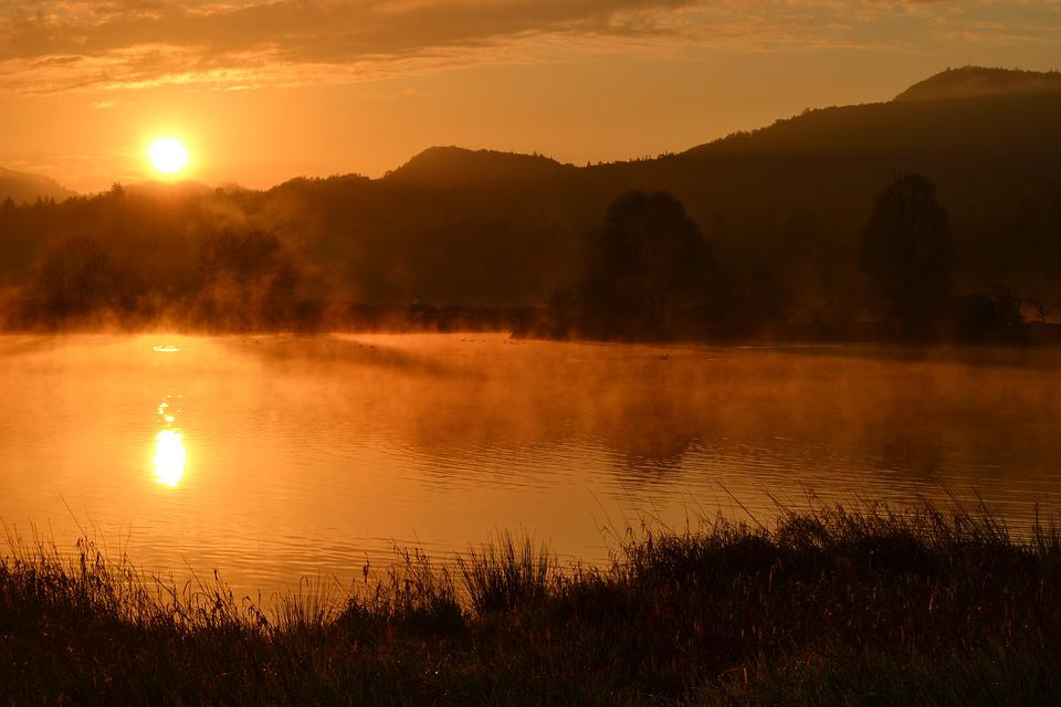 Sunrise, Pond, Fog, Steam, Hills, Water, Grass
